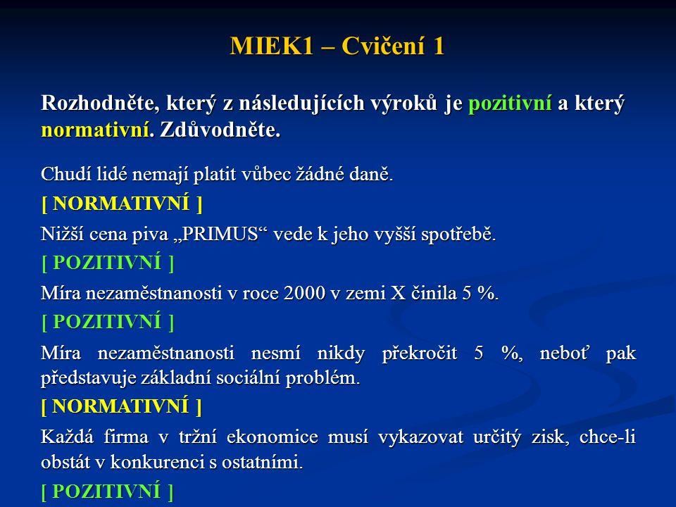MIEK1 – Cvičení 1 Rozhodněte, který z následujících výroků je pozitivní a který normativní. Zdůvodněte.