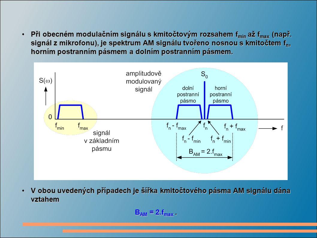 Při obecném modulačním signálu s kmitočtovým rozsahem fmin až fmax (např. signál z mikrofonu), je spektrum AM signálu tvořeno nosnou s kmitočtem fn, horním postranním pásmem a dolním postranním pásmem.