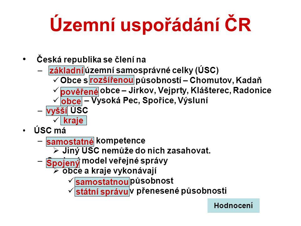 Územní uspořádání ČR Česká republika se člení na