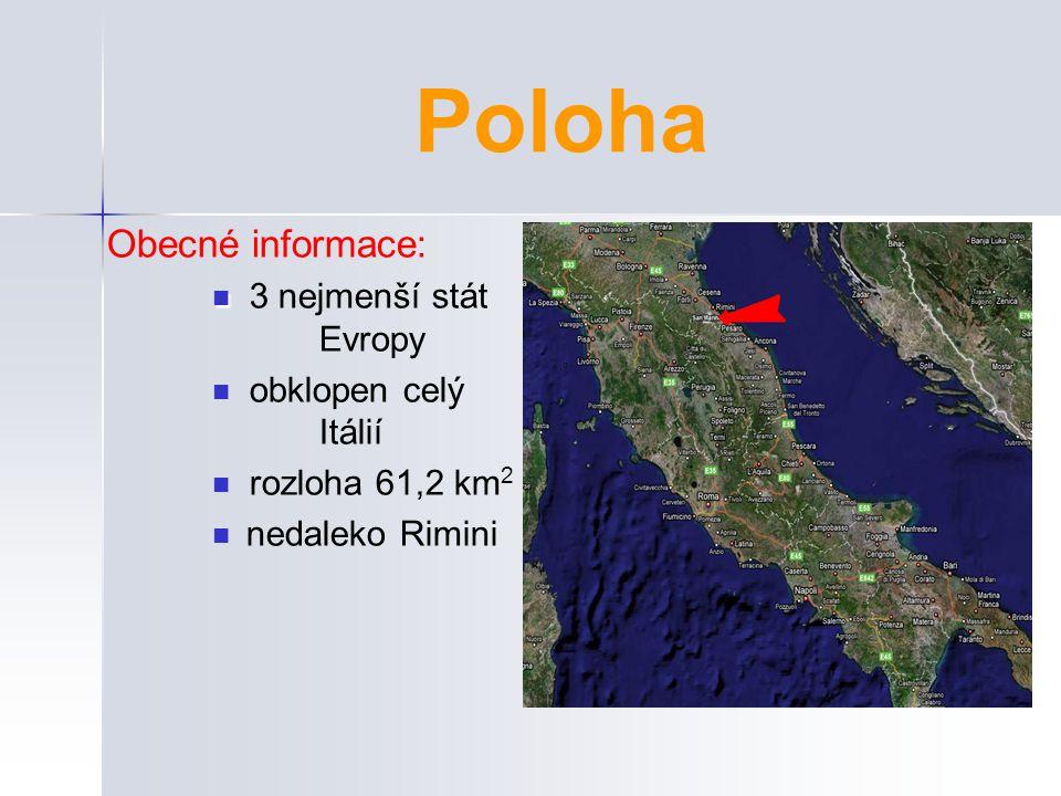 Poloha Obecné informace: 3 nejmenší stát Evropy obklopen celý Itálií