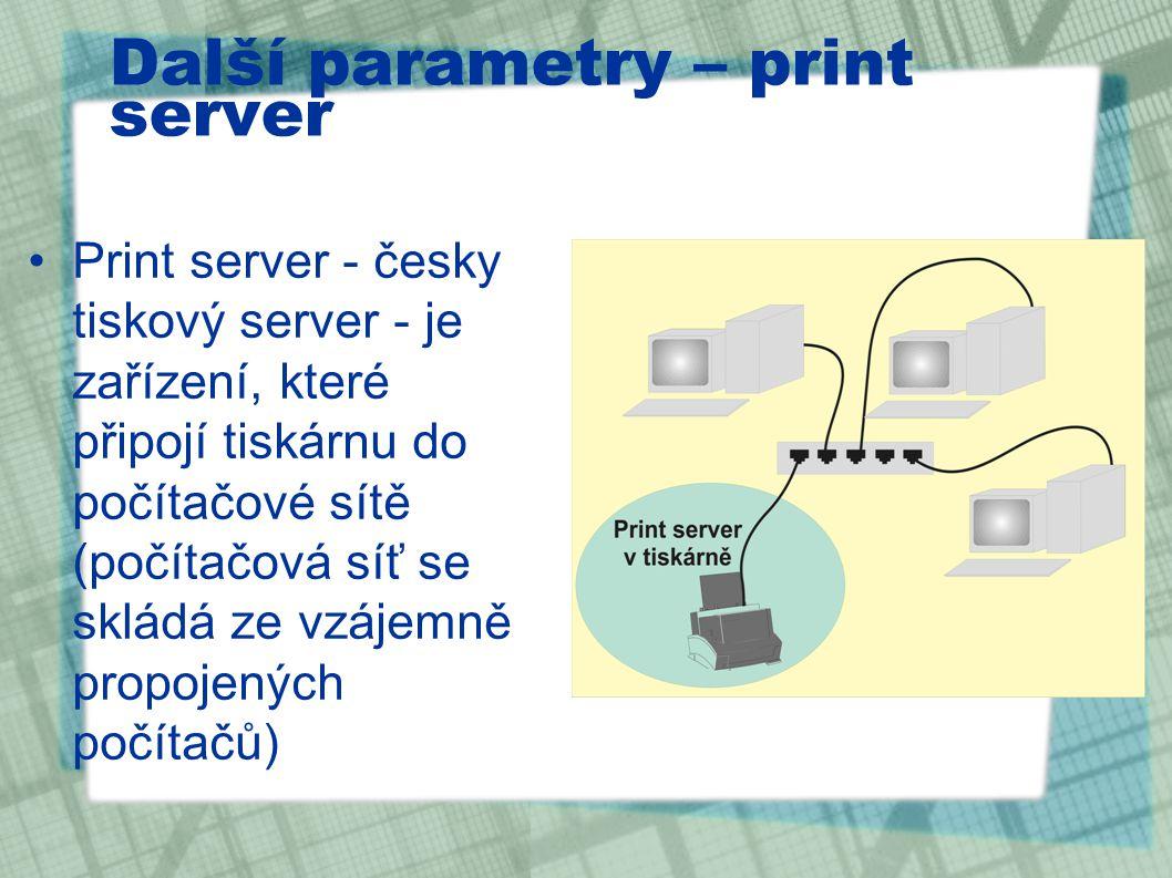 Další parametry – print server
