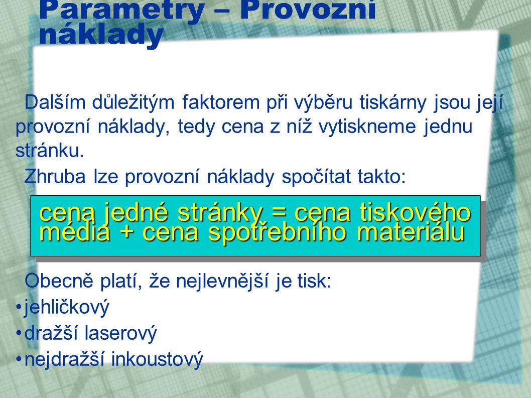 Parametry – Provozní náklady