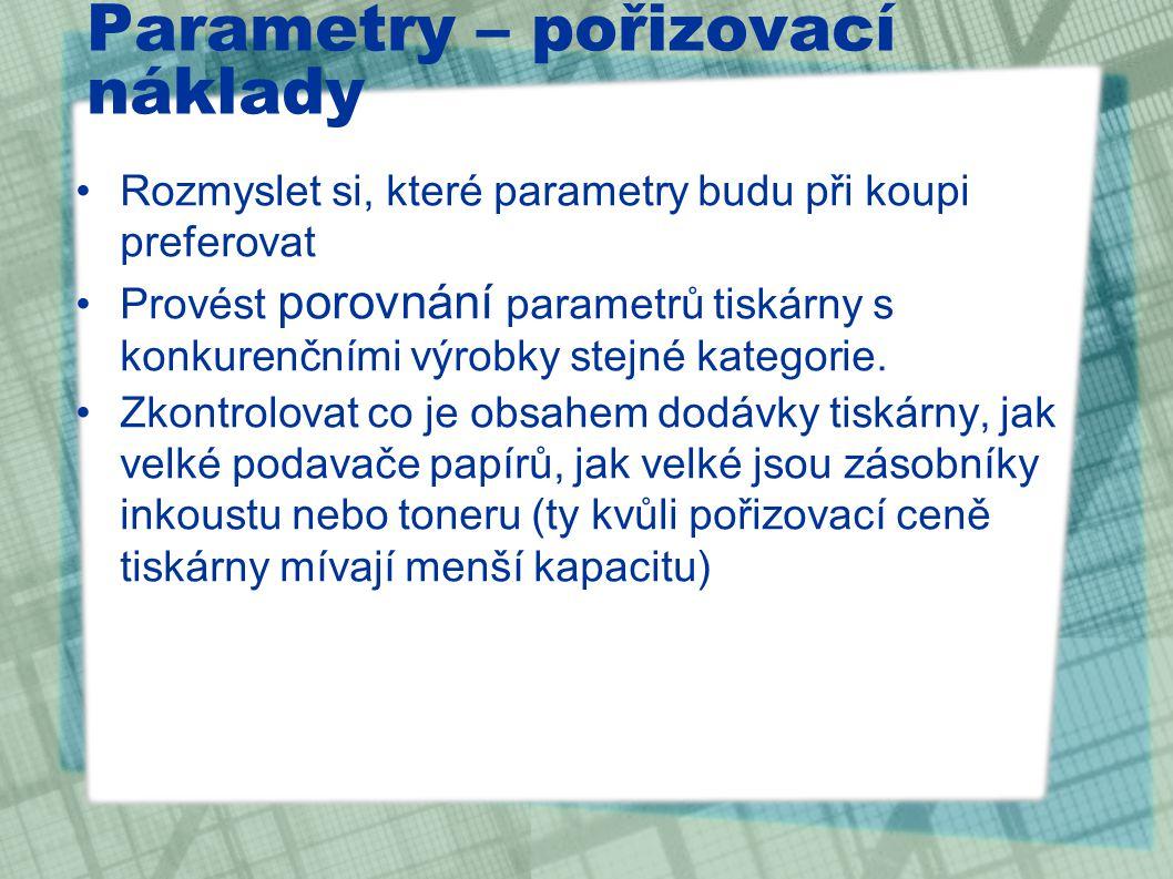 Parametry – pořizovací náklady