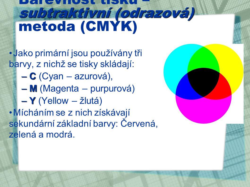 Barevnost tisku – subtraktivní (odrazová) metoda (CMYK)
