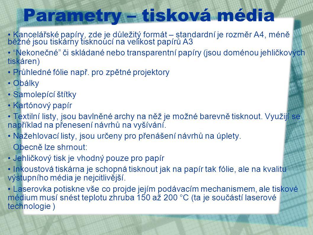 Parametry – tisková média