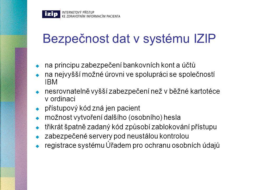 Bezpečnost dat v systému IZIP