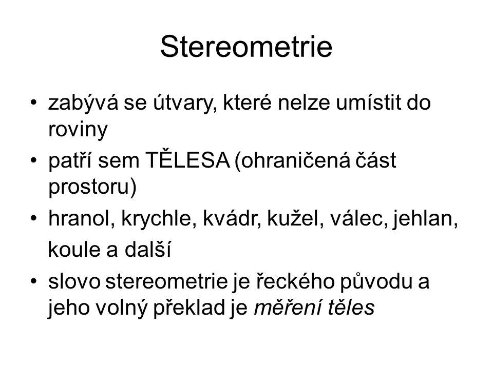 Stereometrie zabývá se útvary, které nelze umístit do roviny