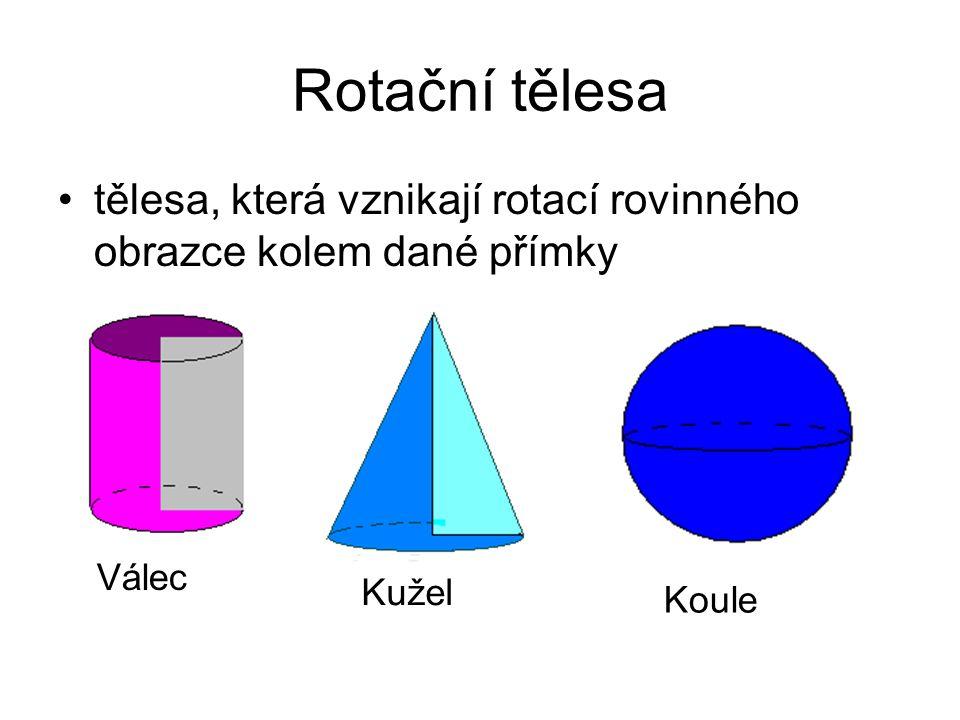Rotační tělesa tělesa, která vznikají rotací rovinného obrazce kolem dané přímky. Rotační válec-vzniká rotací obdélníku kolem jedné jeho strany.