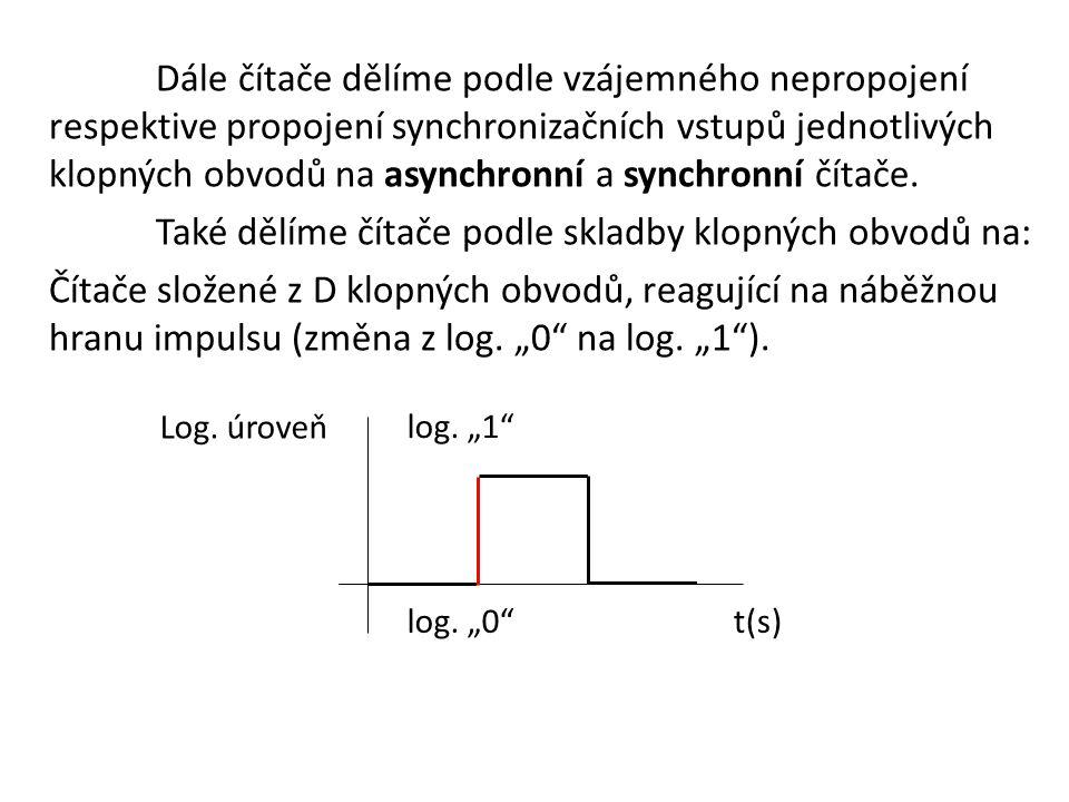 """Dále čítače dělíme podle vzájemného nepropojení respektive propojení synchronizačních vstupů jednotlivých klopných obvodů na asynchronní a synchronní čítače. Také dělíme čítače podle skladby klopných obvodů na: Čítače složené z D klopných obvodů, reagující na náběžnou hranu impulsu (změna z log. """"0 na log. """"1 )."""