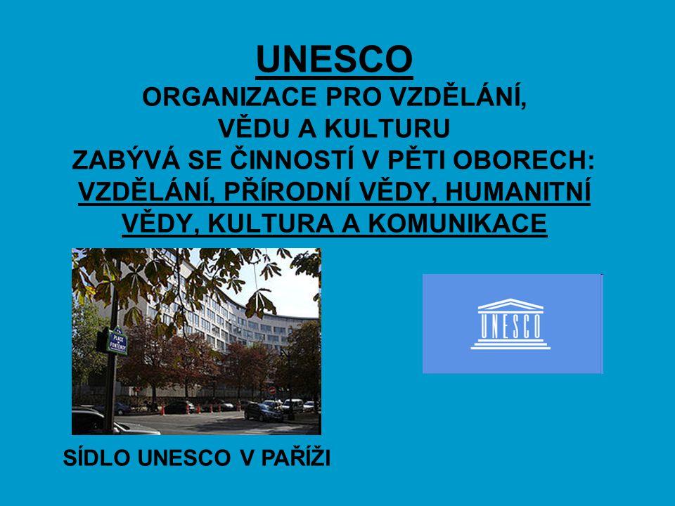 UNESCO ORGANIZACE PRO VZDĚLÁNÍ, VĚDU A KULTURU ZABÝVÁ SE ČINNOSTÍ V PĚTI OBORECH: VZDĚLÁNÍ, PŘÍRODNÍ VĚDY, HUMANITNÍ VĚDY, KULTURA A KOMUNIKACE
