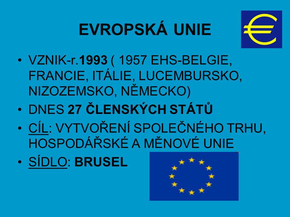 EVROPSKÁ UNIE VZNIK-r.1993 ( 1957 EHS-BELGIE, FRANCIE, ITÁLIE, LUCEMBURSKO, NIZOZEMSKO, NĚMECKO) DNES 27 ČLENSKÝCH STÁTŮ.