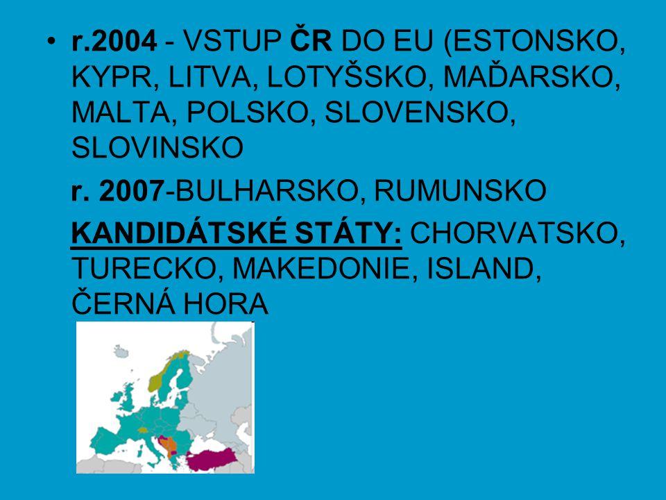 r.2004 - VSTUP ČR DO EU (ESTONSKO, KYPR, LITVA, LOTYŠSKO, MAĎARSKO, MALTA, POLSKO, SLOVENSKO, SLOVINSKO