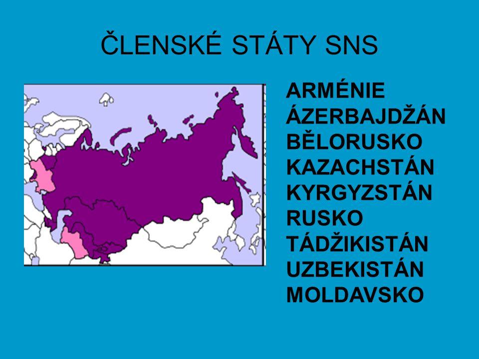 ČLENSKÉ STÁTY SNS ARMÉNIE ÁZERBAJDŽÁN BĚLORUSKO KAZACHSTÁN KYRGYZSTÁN