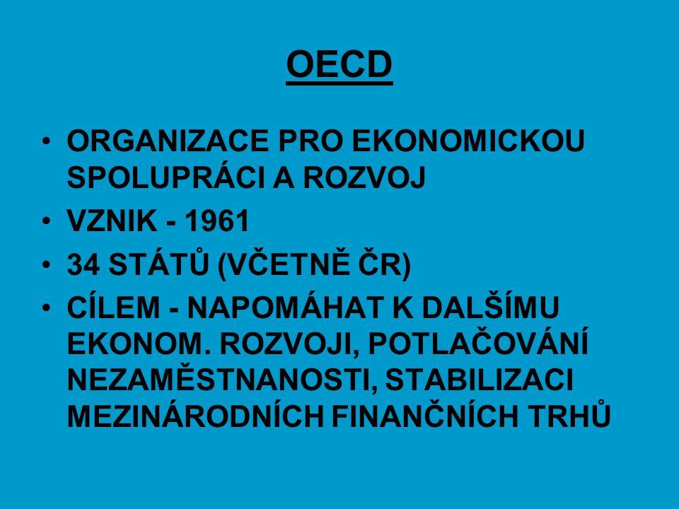 OECD ORGANIZACE PRO EKONOMICKOU SPOLUPRÁCI A ROZVOJ VZNIK - 1961