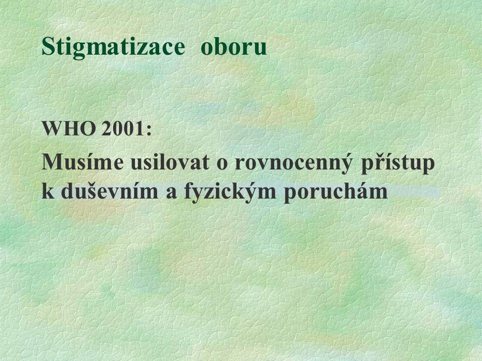 Stigmatizace oboru WHO 2001: Musíme usilovat o rovnocenný přístup k duševním a fyzickým poruchám