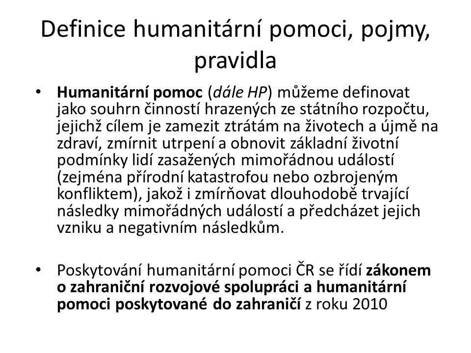 Definice humanitární pomoci, pojmy, pravidla
