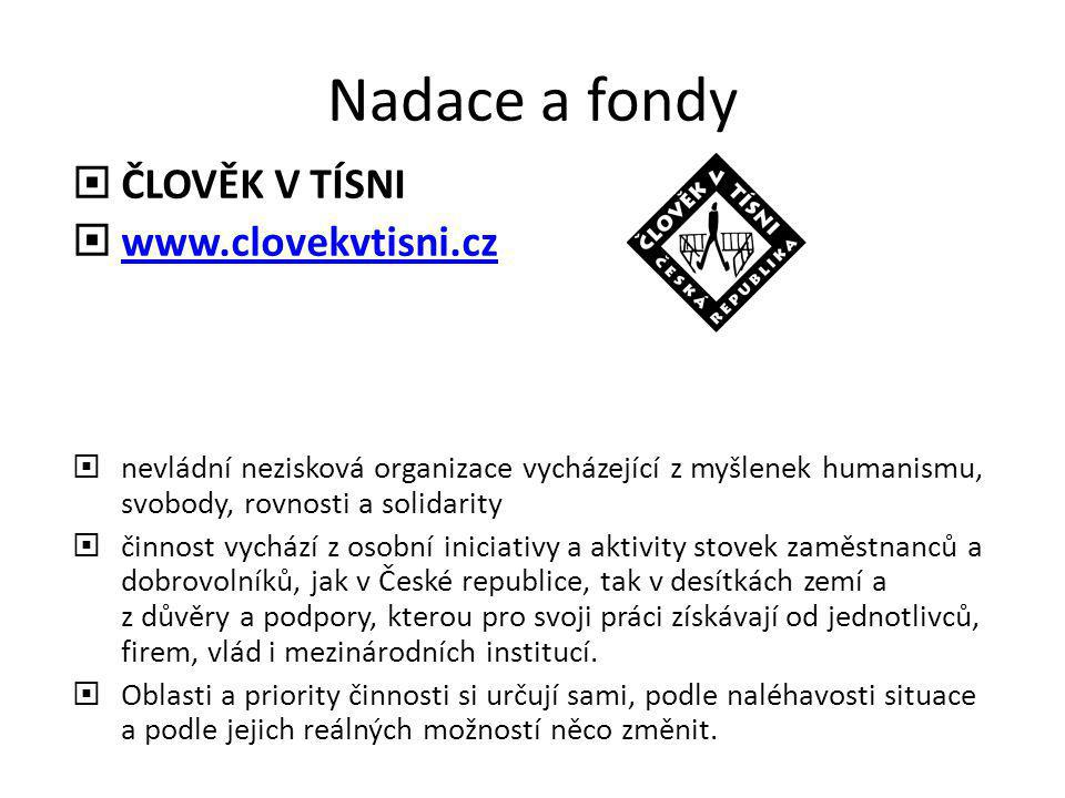 Nadace a fondy ČLOVĚK V TÍSNI www.clovekvtisni.cz