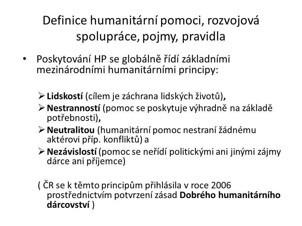 Definice humanitární pomoci, rozvojová spolupráce, pojmy, pravidla