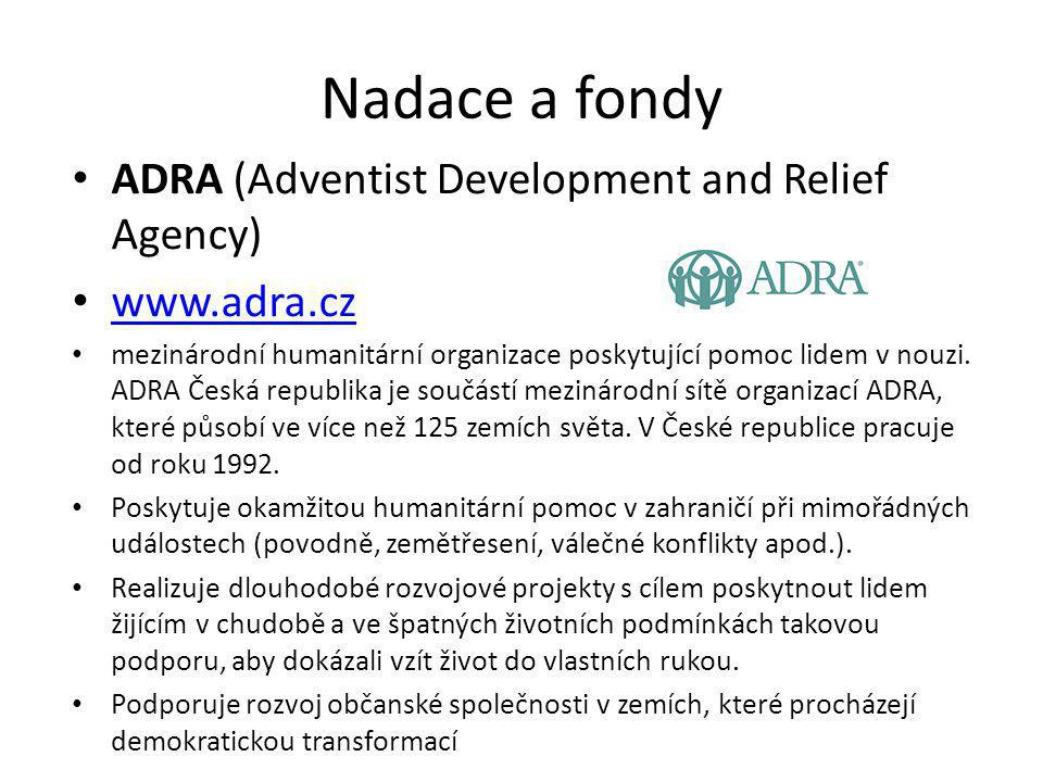 Nadace a fondy ADRA (Adventist Development and Relief Agency)