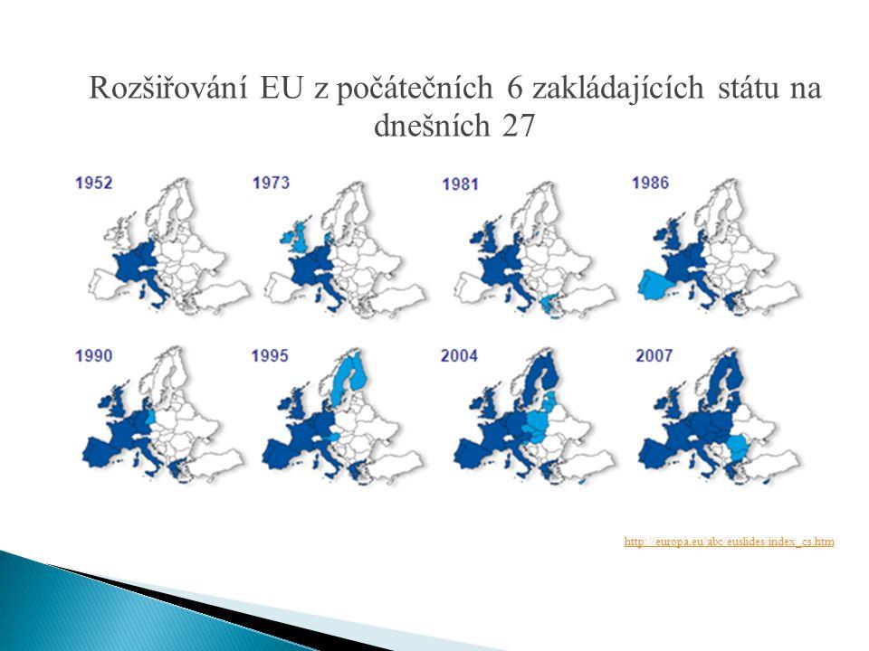 Rozšiřování EU z počátečních 6 zakládajících státu na dnešních 27