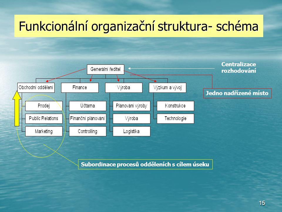 Funkcionální organizační struktura- schéma