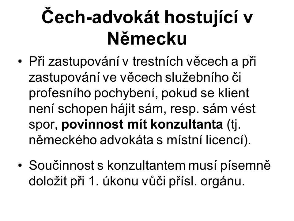 Čech-advokát hostující v Německu