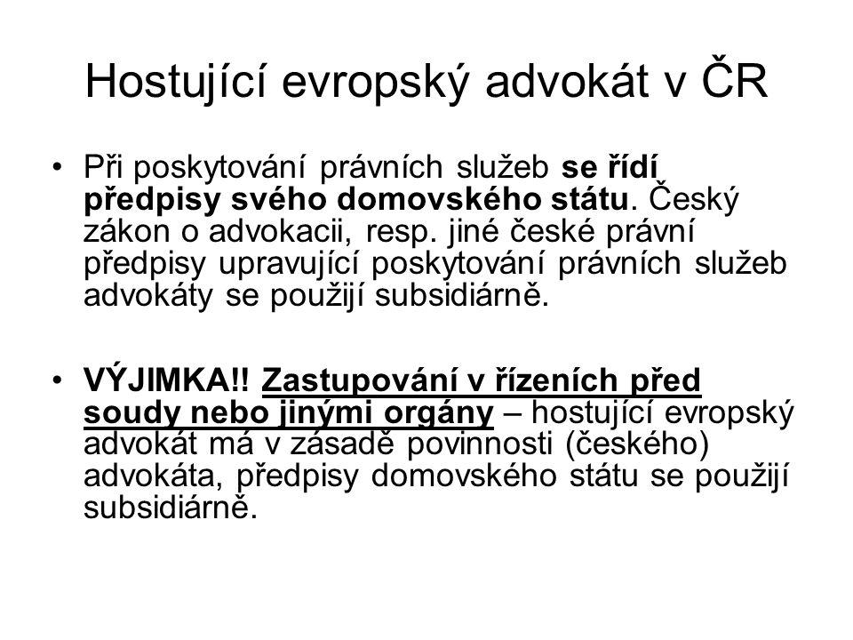 Hostující evropský advokát v ČR