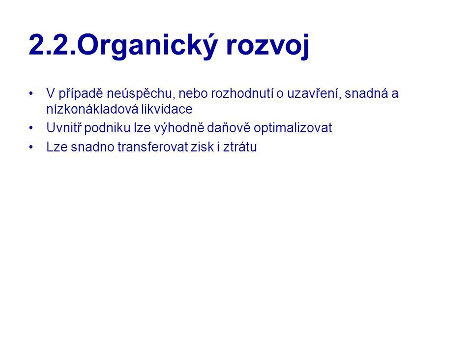 2.2.Organický rozvoj V případě neúspěchu, nebo rozhodnutí o uzavření, snadná a nízkonákladová likvidace.