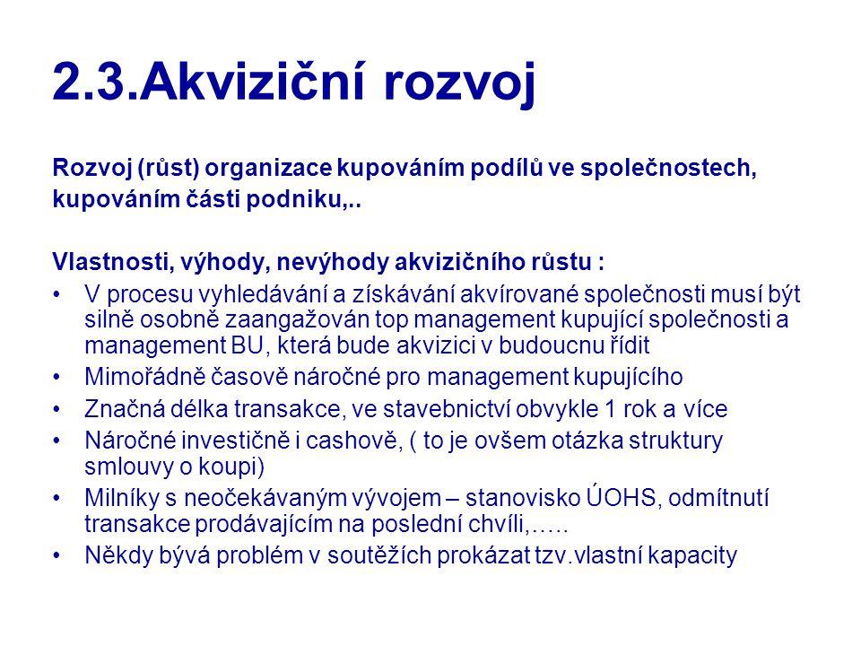 2.3.Akviziční rozvoj Rozvoj (růst) organizace kupováním podílů ve společnostech, kupováním části podniku,..