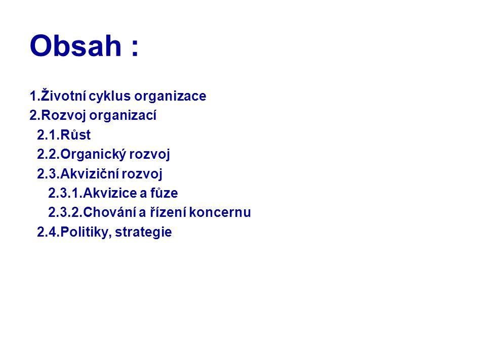 Obsah : 1.Životní cyklus organizace 2.Rozvoj organizací 2.1.Růst
