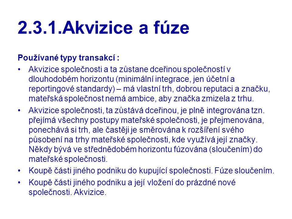2.3.1.Akvizice a fúze Používané typy transakcí :