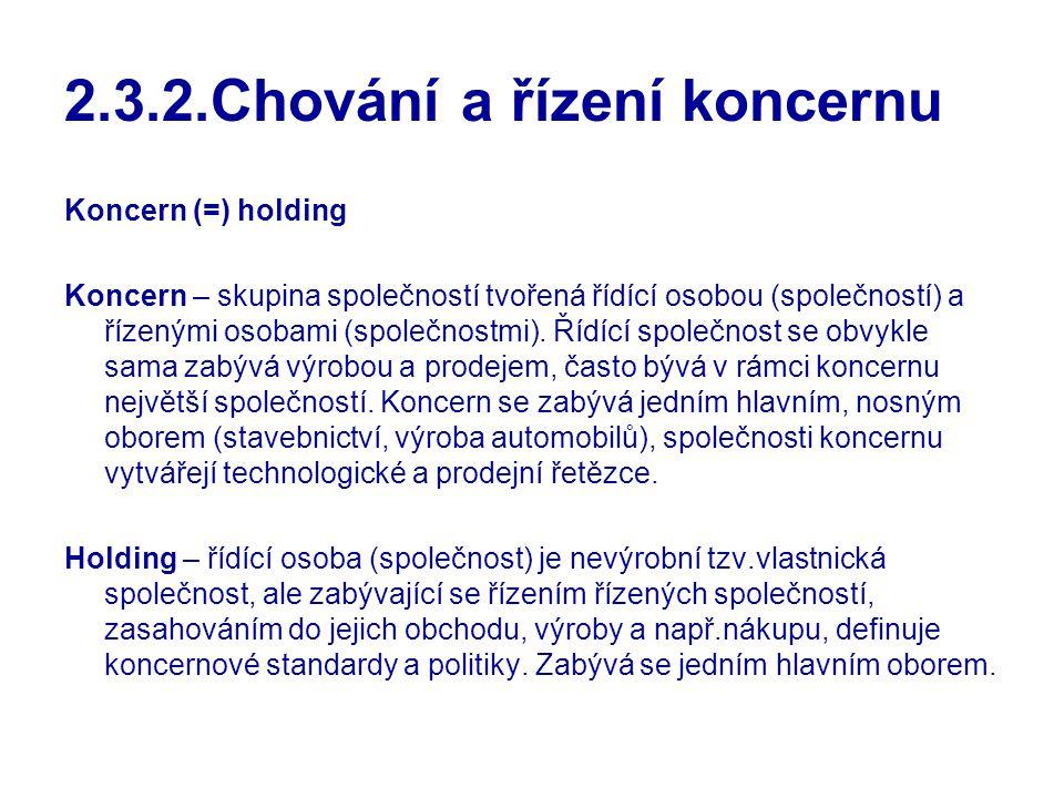 2.3.2.Chování a řízení koncernu
