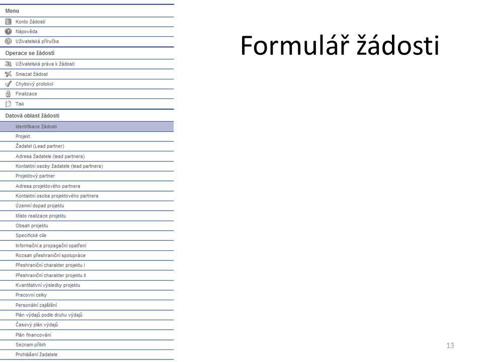 Formulář žádosti