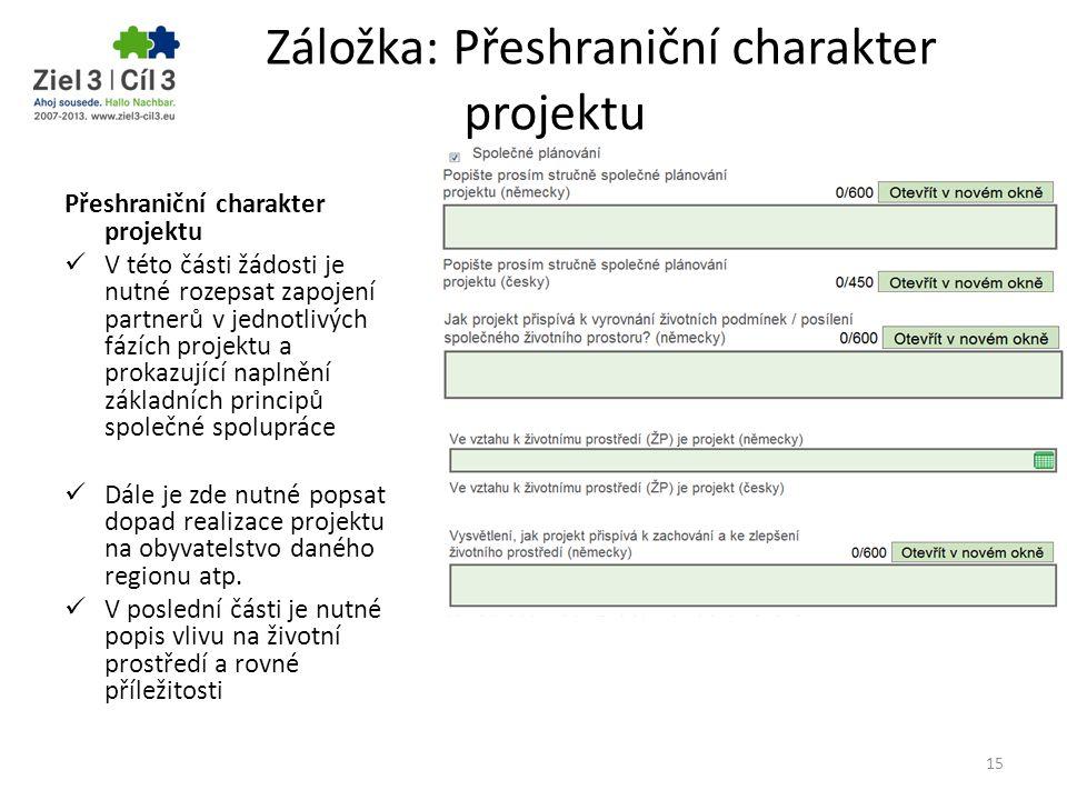 Záložka: Přeshraniční charakter projektu