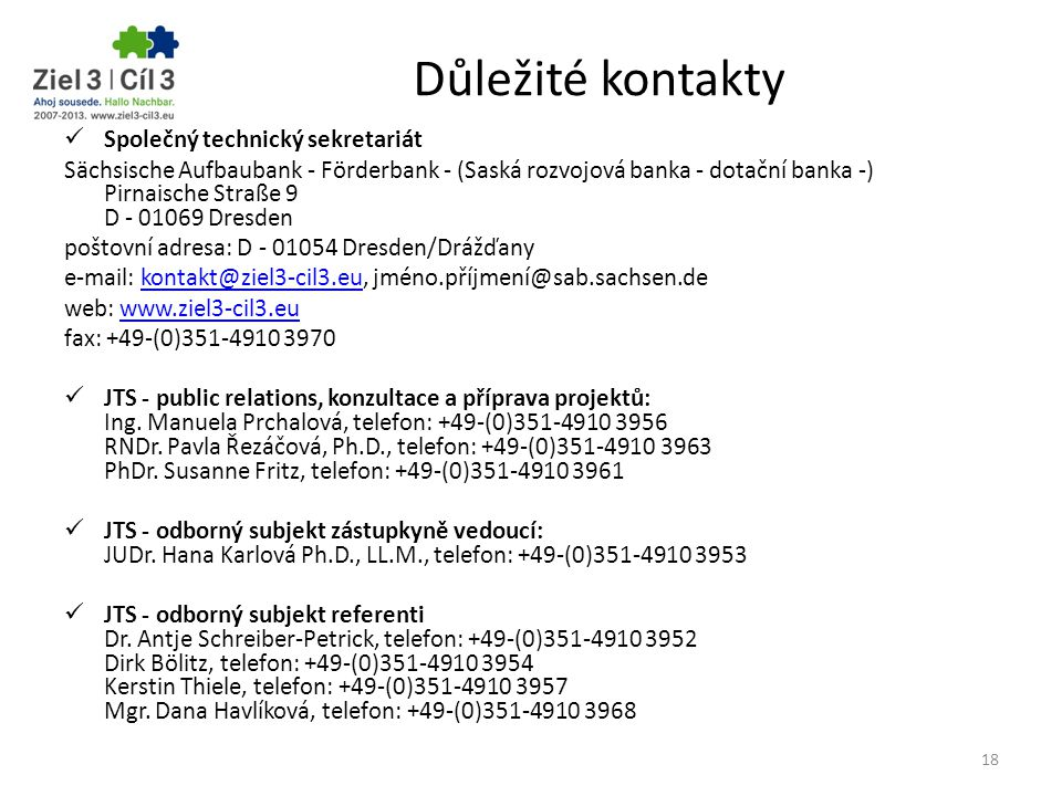 Důležité kontakty Společný technický sekretariát