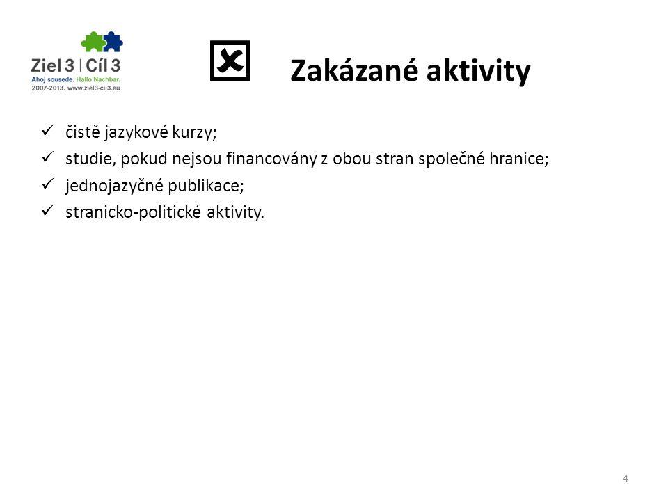  Zakázané aktivity čistě jazykové kurzy;