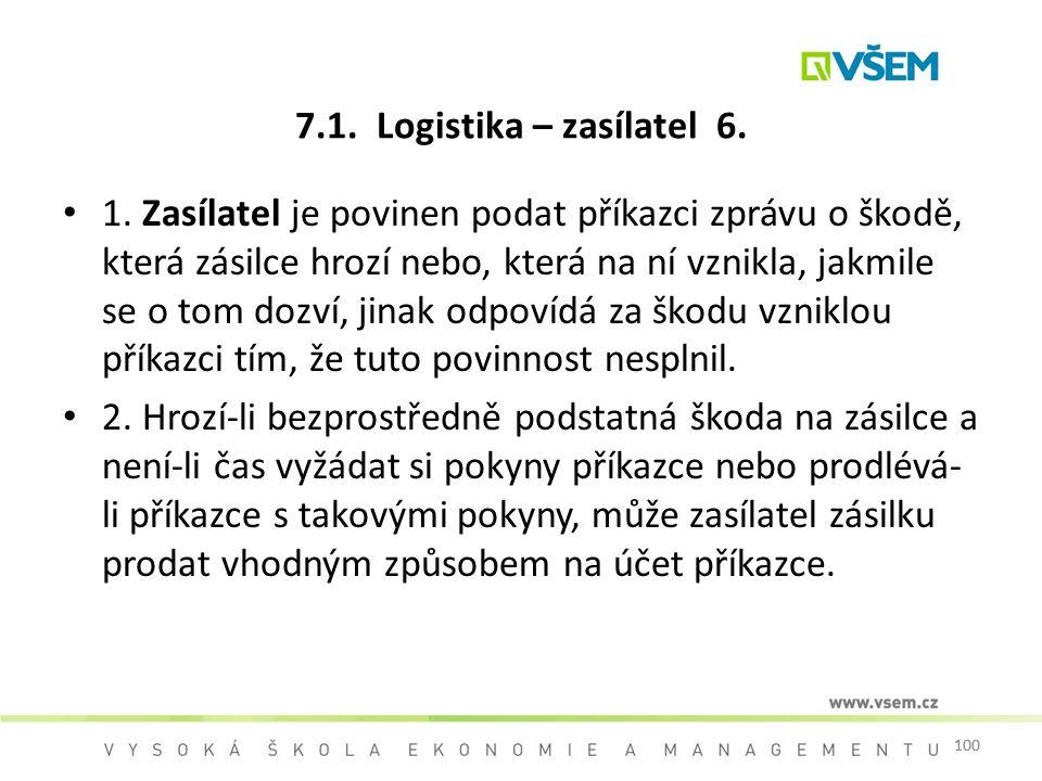 7.1. Logistika – zasílatel 6.