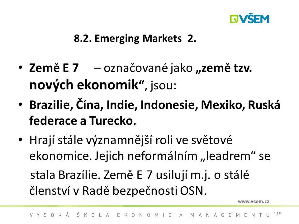"""Země E 7 – označované jako """"země tzv. nových ekonomik , jsou:"""
