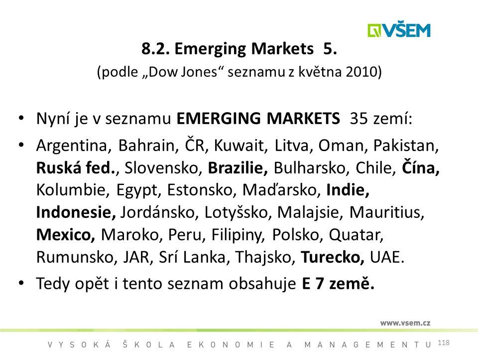 """8.2. Emerging Markets 5. (podle """"Dow Jones seznamu z května 2010)"""