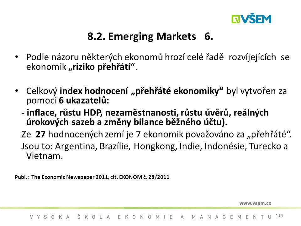"""8.2. Emerging Markets 6. Podle názoru některých ekonomů hrozí celé řadě rozvíjejících se ekonomik """"riziko přehřátí ."""