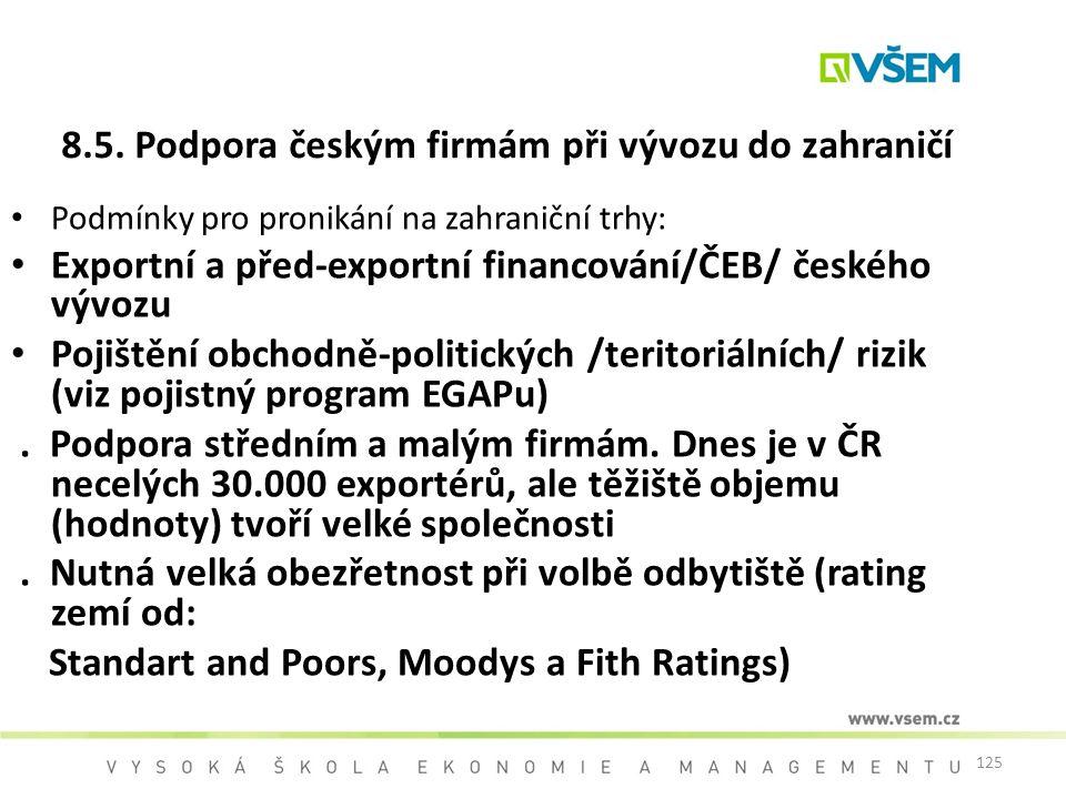 8.5. Podpora českým firmám při vývozu do zahraničí