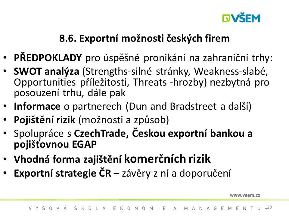 8.6. Exportní možnosti českých firem