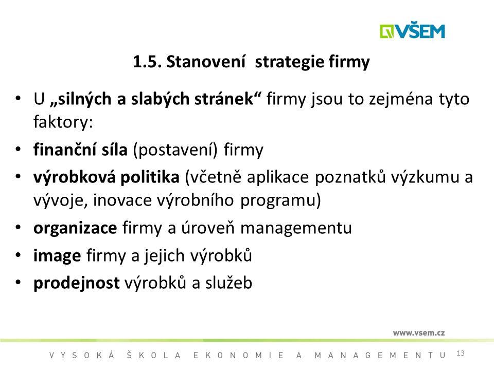 1.5. Stanovení strategie firmy