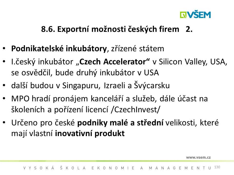 8.6. Exportní možnosti českých firem 2.
