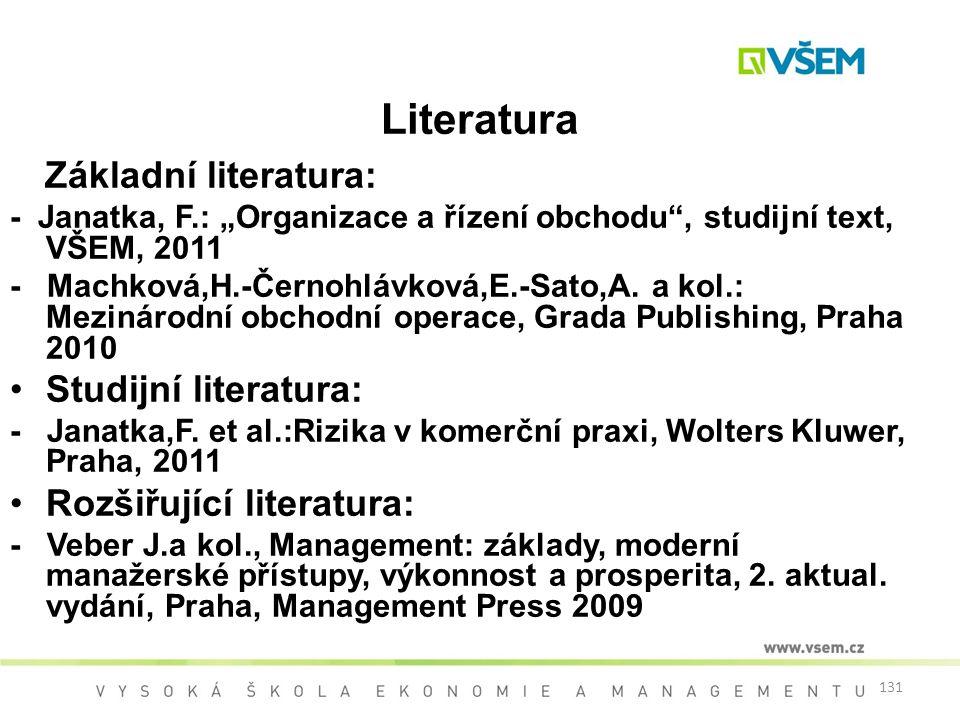 Literatura Studijní literatura: Rozšiřující literatura: