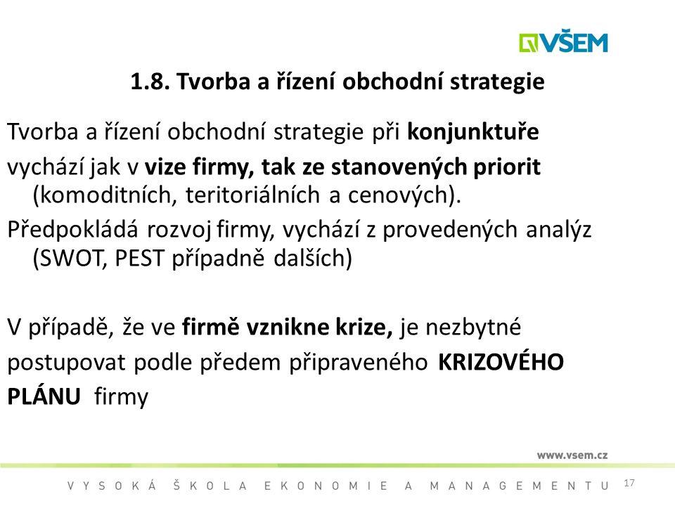 1.8. Tvorba a řízení obchodní strategie