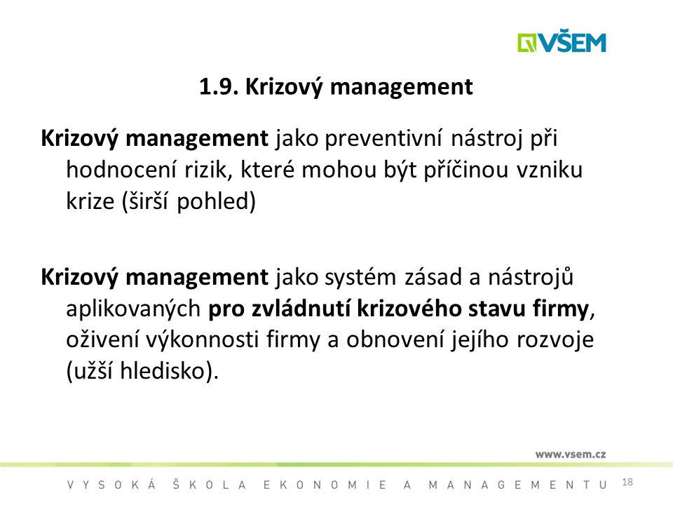 1.9. Krizový management Krizový management jako preventivní nástroj při hodnocení rizik, které mohou být příčinou vzniku krize (širší pohled)