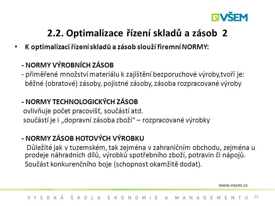 2.2. Optimalizace řízení skladů a zásob 2