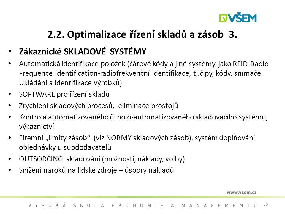 2.2. Optimalizace řízení skladů a zásob 3.
