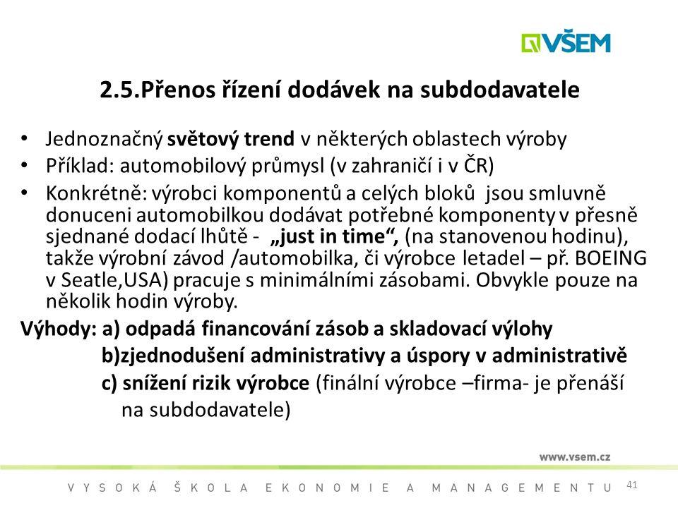 2.5.Přenos řízení dodávek na subdodavatele